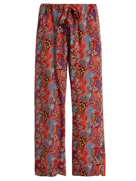 ETRO floral print silk pink pants