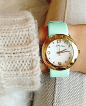 tank top,watch,marc jacobs,marc jacobs watch,green,pastel,pastel green,gold,tumblr girl,jewels,sweater,pants,mint