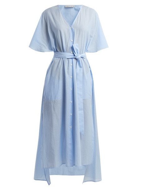 Palmer/harding Palmer//harding - Striped Tie Waist Cotton Dress - Womens - Blue Stripe
