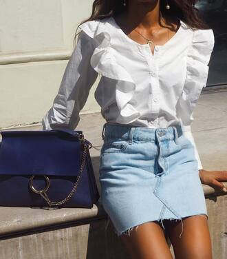 skirt tumblr mini skirt denim denim skirt shirt white shirt ruffle bag blue bag