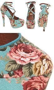 BN Office 8 41 rare blue floral Simple Minds shoes v high heels platform wedge
