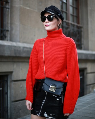 sweater tumblr red sweater knit knitwear knitted sweater hat fisherman cap skirt mini skirt vinyl vinyl skirt bag crossbody bag