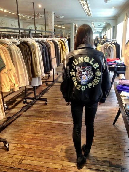 jacket tiger print kenzo black jacket love it leather jacket