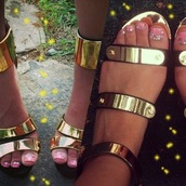 shoes,goldplated,wedges,sandals