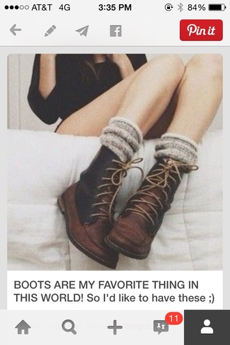 shoes combat boots back and brown hipster