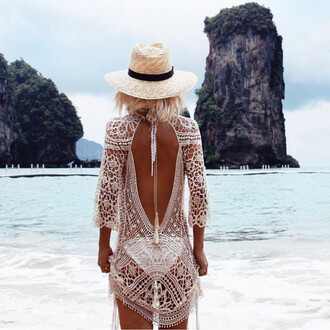 dress zaful bikini coverup bikini cover cover up bathing suit cover up lace dress crochet dress white crochet dress beach crochet dress beach dress crochet white trendy