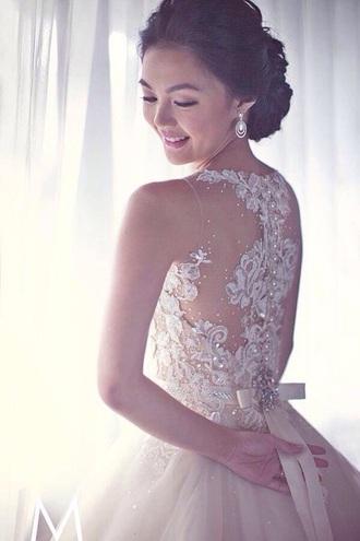 wedding dress wedding cream ivory dress ivory diamonds lace dress