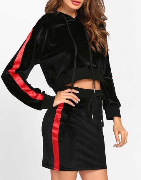 skirt girly black velvet two-piece matching set sweater sweatshirt hoodie red two piece dress set