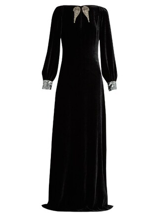 gown embellished velvet black dress