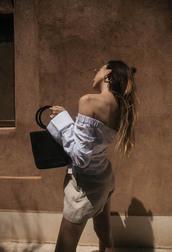 top,tumblr,jacquemus,off the shoulder,off the shoulder top,shorts,bag,simon miller bag,black bag
