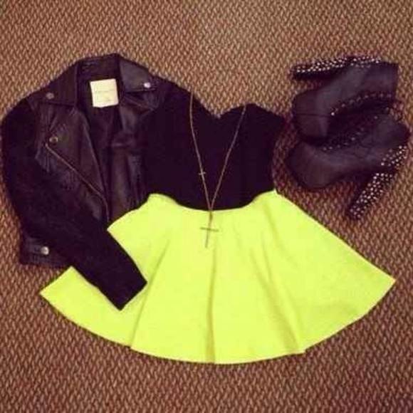 motorcycle jacket black jacket shoes shirt skirt leather jacket cute fall fancy bright neon classy cute jacket blazer pretty fashion loveit necklace dress cross necklace yellow pleated skater skirt mini skirt mini leather black jacket bustier all i want jewellery high heels spikes black  studded heels