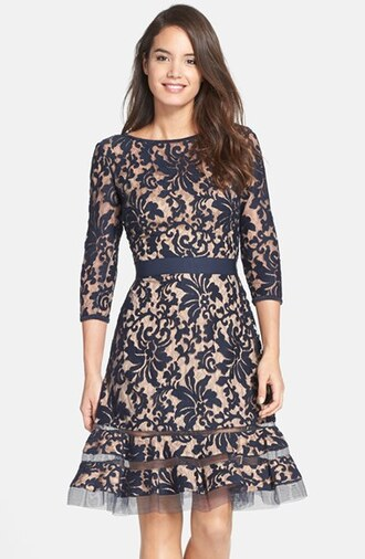 dress lace dress see through blue navy elegant retro vintage swing pin up