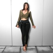 top,maniere de voir,khaki,wrap top,khaki styles,mesh leggings,mesh,black,cut out top