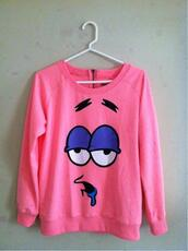 sweater,spongebob,patrick,pullover,rose,patrick l'etoile,swag,pink,underwear,patrick star,cute,pink patrick star sweater,cartoon,jacket,patrick starfish pink,shirt
