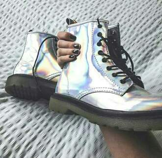 shoes holo holographic holographic shoes drmartens boots rainbow