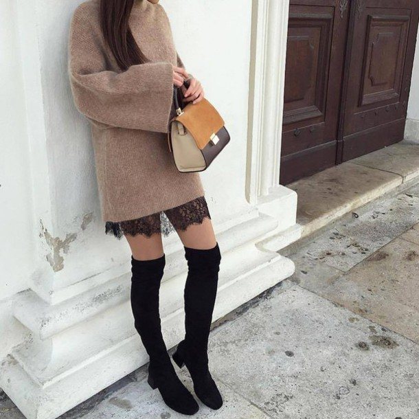 Dress Tumblr Sweater Beige Sweater Bag Black Dress Lace Dress