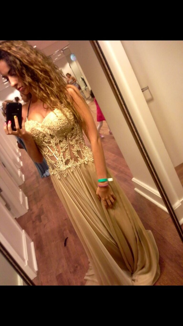 gold dress lace dress prom dress