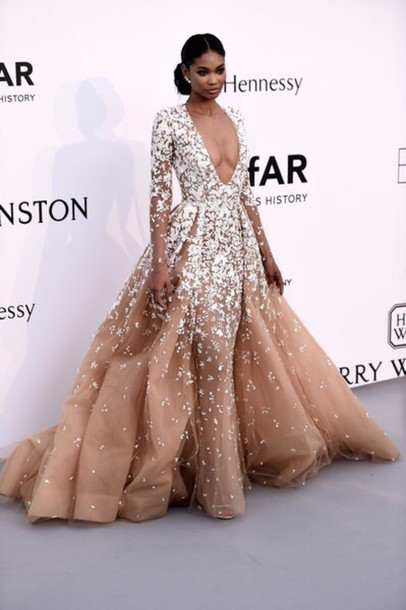 7ff2b3e3e17e dress formal chanel iman prom dress sheer gown zuhair murad long sleeve  dress prom fashion style