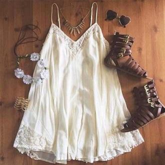boho white dress gladiators