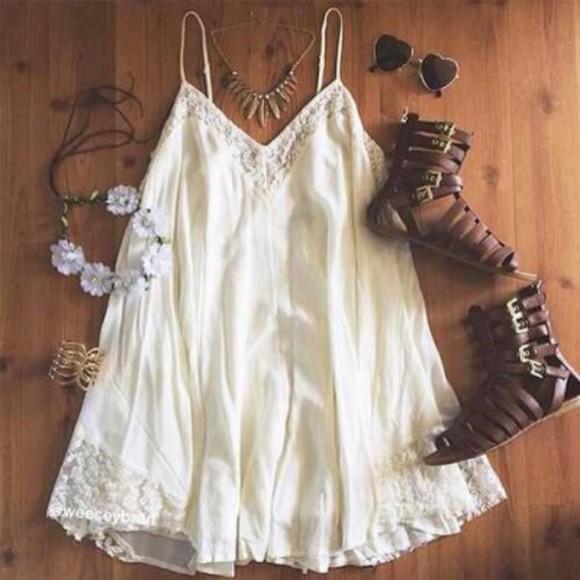 boho gladiators white dress