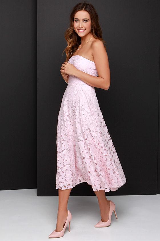 Bb dakota alva light pink strapless lace midi dress