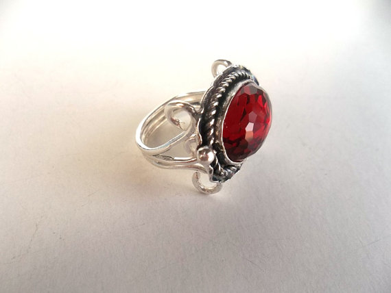 Ruby  jewellery   sterling silver ring  victorian   by guldentaki
