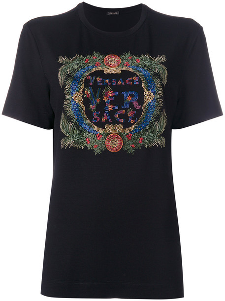 VERSACE t-shirt shirt t-shirt women spandex embellished black top