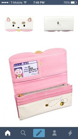 bag wallet bear bee pale kawaii