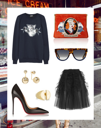 style scrapbook blogger sweater bag sunglasses shoes skirt jewels