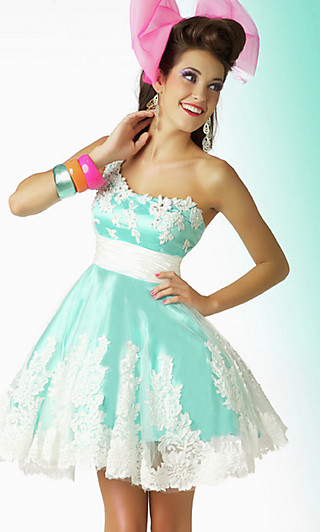 Lace Prom Dress, One Shoulder Short Party Dress-PromGirl