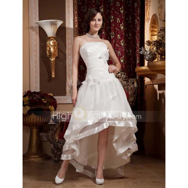 White A-line Strapless Organza Floor-length Bridal Wedding Dress_$232.36