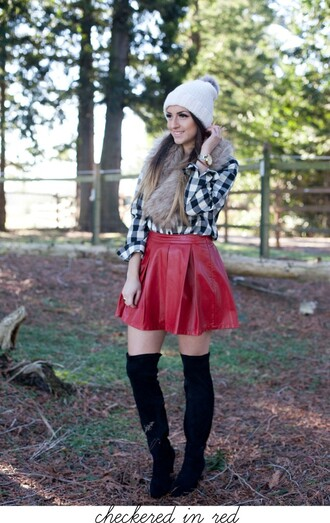 vickys style blogger leather skirt pom pom beanie thigh high boots red shirt top skirt t-shirt hat jewels shoes