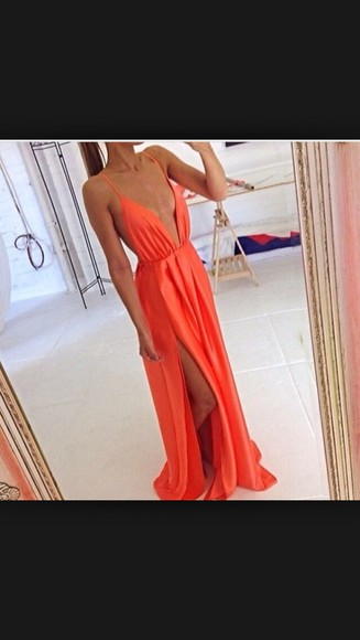 coral dress deep v neck dress leg cut out red dress peach dresses long prom dresses