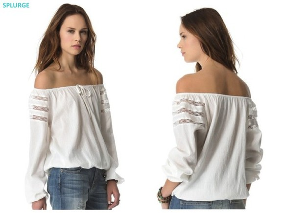 blouse off the shoulder top loose fit elastic hem long sleeves sheer shoulder