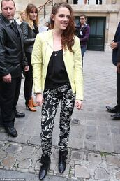 jacket,leather jacket,neon yellow,kristen stewart