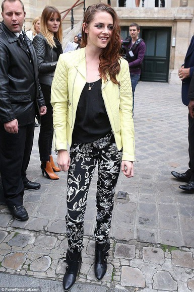 kristen stewart neon yellow jacket leather jacket