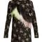 Feather-embellished floral-print crepe dress