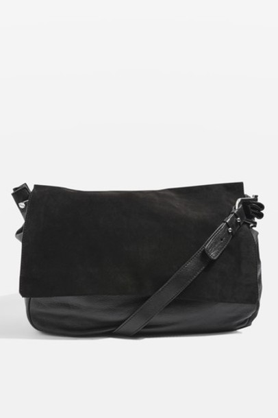 Topshop bag leather suede black