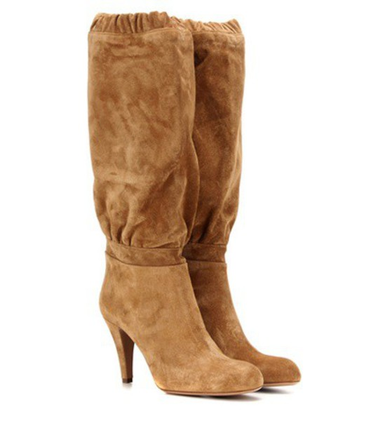 Chloe knee-high boots high boots suede brown shoes