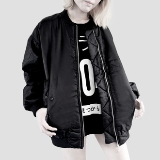 jacket harajuku monochrome japanese black kawaii black bomber jacket bomber jacket