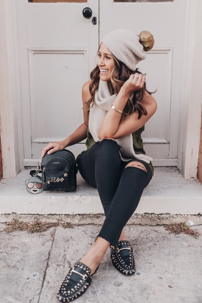 hauteofftherack blogger hat scarf jewels jeans tank top beanie fall outfits loafers backpack black jeans