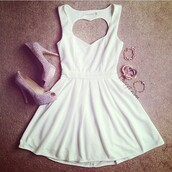 dress,white dress,white,heart,heart cut out,heart on the back,super cute,jewels,shoes,homecoming dress,mini dress,heart dress,cute,accessories,high heels,back,heart back,perfect,cute dress,short dress,heels,sparkle,beautiful,white mini dress,heartdress,heartback,heart cutout,sweetheart dress