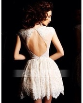dress,lace open back dress,floral pattern lace dress,lace dress,formal dress,ivory,ivory lace,ivory dress,open back dresses,classy,elegant,white dress on pintrest,cream,lace,evening dress,short,open back,oval cut out,short sleeve,fit and flare,fashion,girly,stle,wedding dress,hipster wedding,white dress,homecoming dress,white,open back prom dress,bag