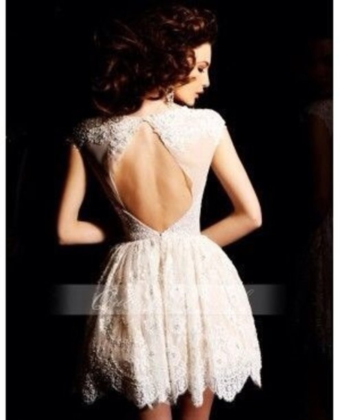 dress lace open back dress floral pattern lace dress lace dress formal dress ivory ivory lace ivory dress open back dresses classy elegant white dress on pintrest cream lace evening dress short open back oval cut out short sleeve fit and flare fashion girly stle wedding dress hipster wedding formal dress white dress homecoming dress white open back prom dress
