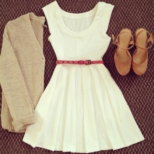 dress white dress cute dress summer dress jacket belt cardigan ivory dress pink belt suede shoes white shoes country style pastel braided vintage outfit idea girly girl clothes fashion sweater knitted sweater knitwear accessories cute dress summer love it short dress sleeveless dress blouse ariana grande tumblr clothes shorts skater dress summer knitted cardigan wedges brown pretty dance party georgeous lovly camel heels high heels scoop neck