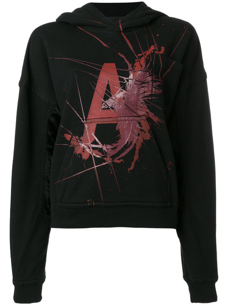 Haider Ackermann hoodie women cotton print black sweater