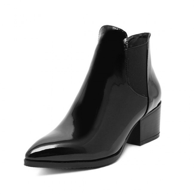 Patent Black Block Heel Pointed Toe Ankle Boots