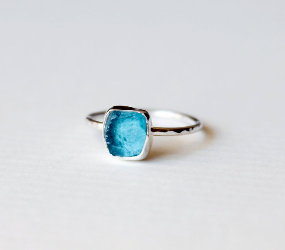 APATITE Rough Crystal Ring Size 67 / Rough by AYAJewelryStudio