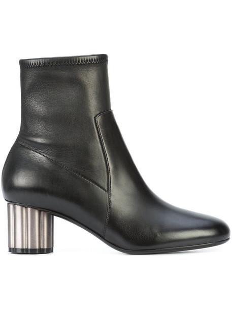 Salvatore Ferragamo heel women ankle boots leather black shoes