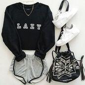 sweater,nyct clothing,sweatshirt,lazy sweater,lazy sweatshirt,graphic sweatshirt,graphic sweater,black and white,lazy day,t-shirt